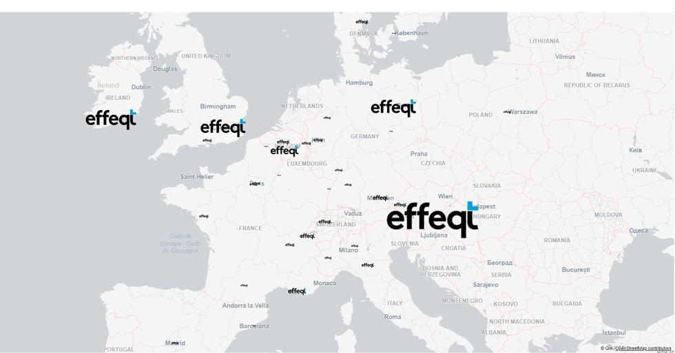 Eine Karte mit Standorten von effeqt-Icons
