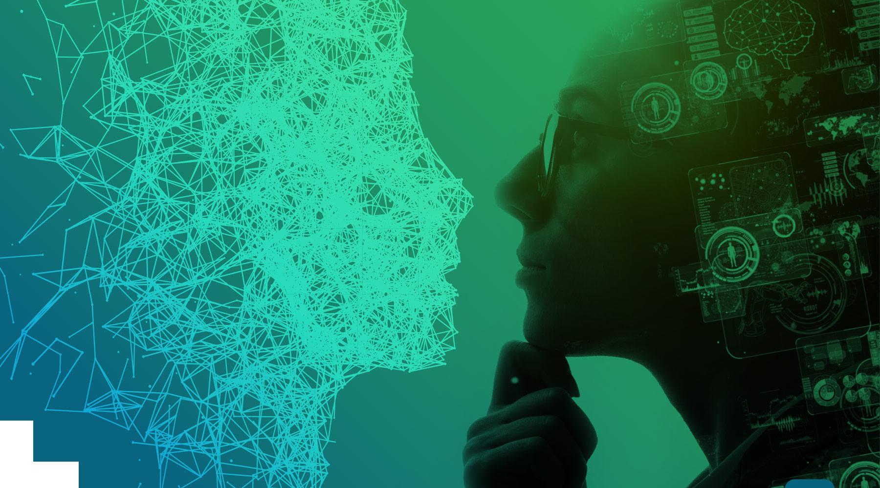 Zwei Personen die über Business Intelligence nachdenken